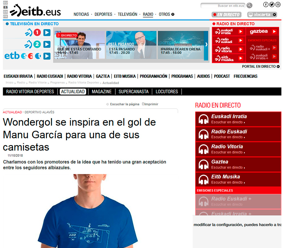 Noticia Wondergol en EITB.eus
