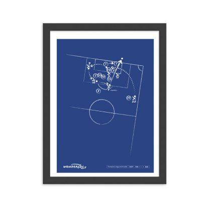 Cuadro con gol de Andrés Iniesta al Chelsea Champions 2009 - Azul