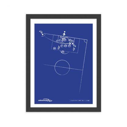 Cuadro con gol de Manu Garcia al Madrid Liga 2018 - azul
