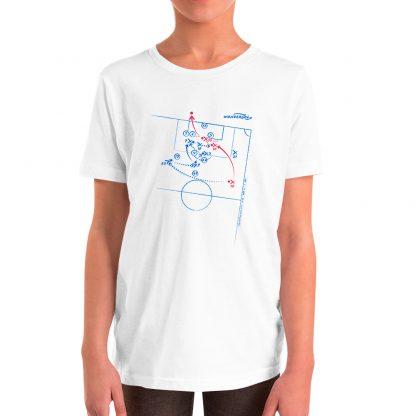 Camiseta con Gol de Lionel Messi al Sevilla en la Copa del Rey 2019 talla niños color blanca