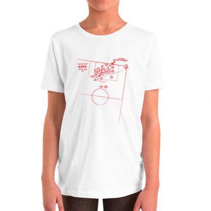 Camiseta con gol de Godin al Barcelona para niños color blanca