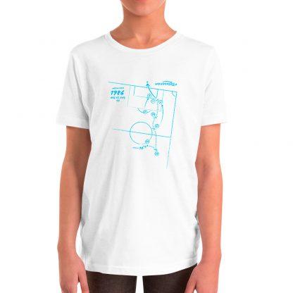 Camiseta con gol de Maradona en 1986 para niños color blanca