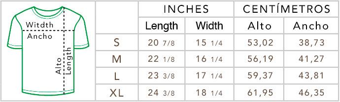 Medidas de camisetas Wondergol para niños